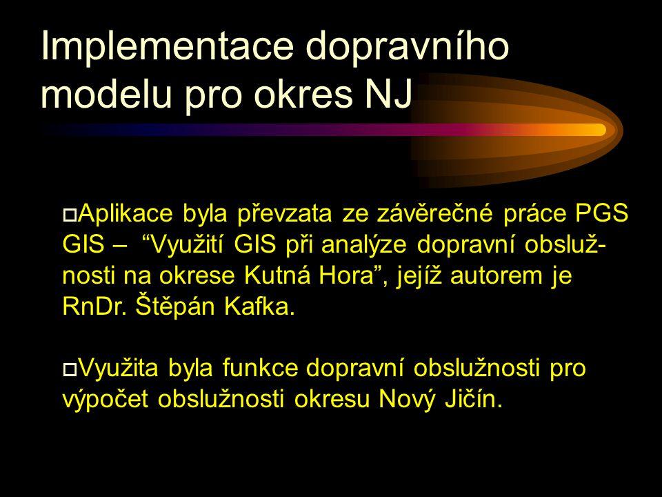 Implementace dopravního modelu pro okres NJ o Aplikace byla převzata ze závěrečné práce PGS GIS – Využití GIS při analýze dopravní obsluž- nosti na okrese Kutná Hora , jejíž autorem je RnDr.