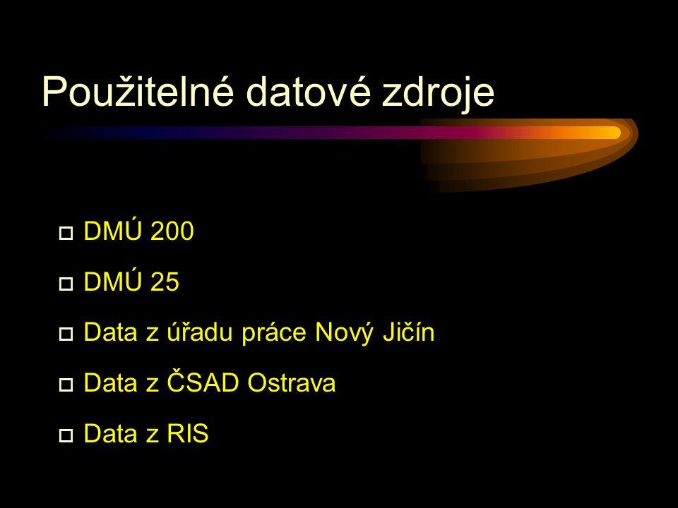 Použitelné datové zdroje o DMÚ 200 o DMÚ 25 o Data z úřadu práce Nový Jičín o Data z ČSAD Ostrava o Data z RIS