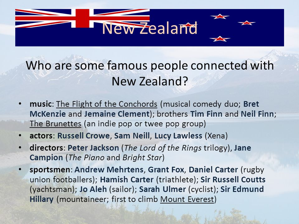 Who are some famous people connected with New Zealand.