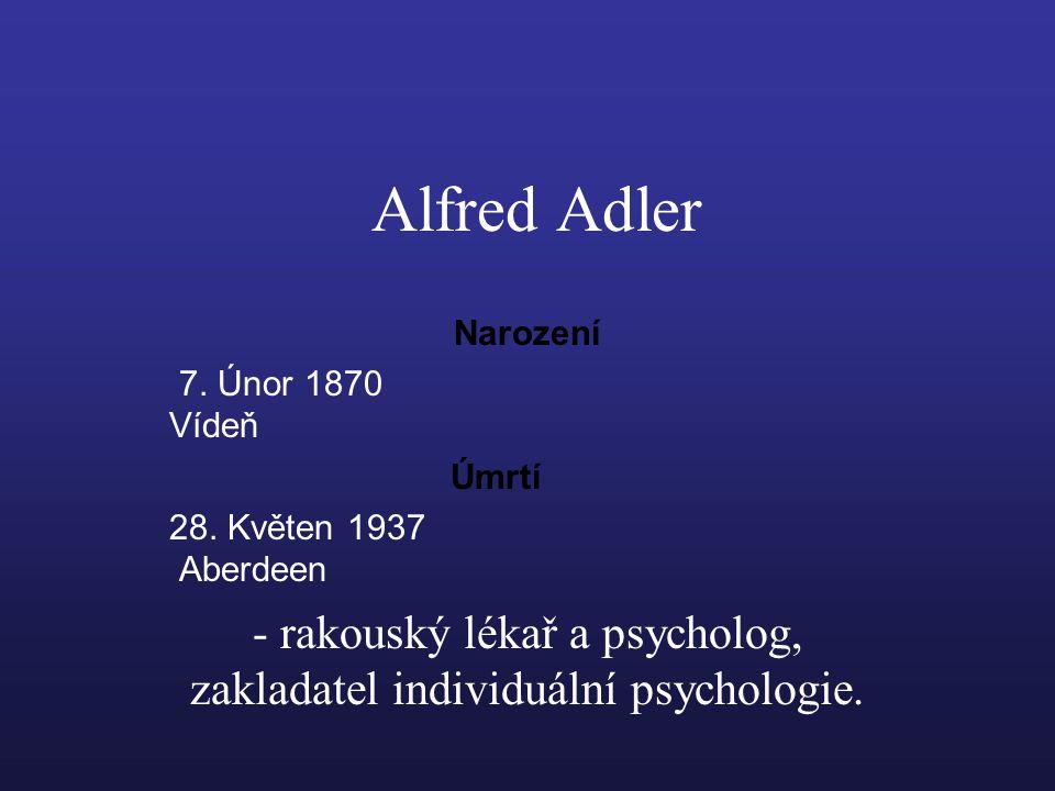 Alfred Adler Narození 7.Únor 1870 Vídeň Úmrtí 28.