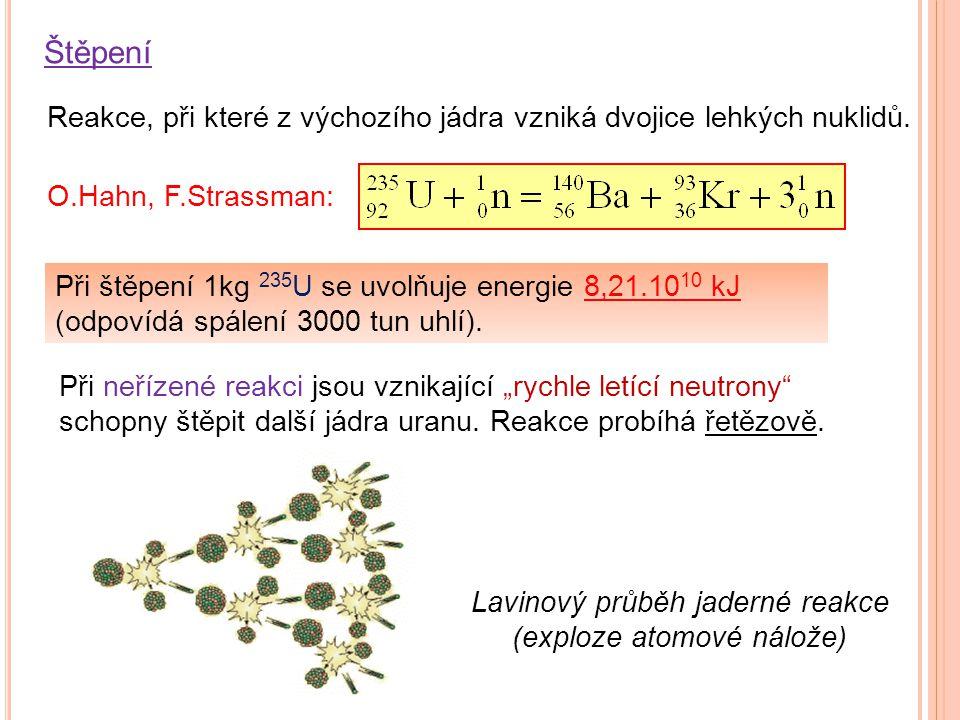 Reakce, při které z výchozího jádra vzniká dvojice lehkých nuklidů. O.Hahn, F.Strassman: Při štěpení 1kg 235 U se uvolňuje energie 8,21.10 10 kJ (odpo