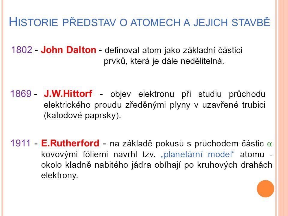 H ISTORIE PŘEDSTAV O ATOMECH A JEJICH STAVBĚ 1802 - John Dalton - definoval atom jako základní částici prvků, která je dále nedělitelná. 1869 -J.W.Hit
