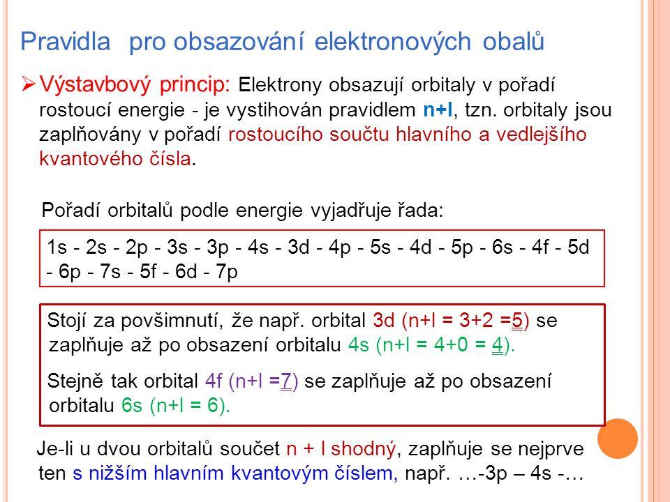 Pravidla pro obsazování elektronových obalů  Výstavbový princip: Elektrony obsazují orbitaly v pořadí rostoucí energie - je vystihován pravidlem n+l,