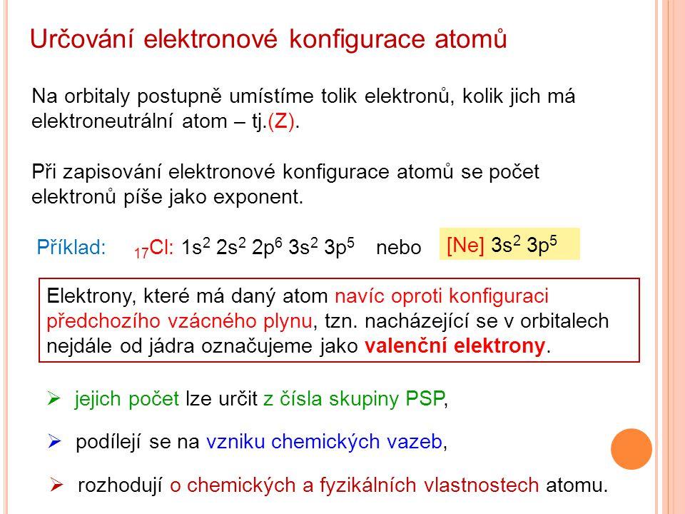 Určování elektronové konfigurace atomů Při zapisování elektronové konfigurace atomů se počet elektronů píše jako exponent. Příklad: 17 Cl: 1s 2 2s 2 2