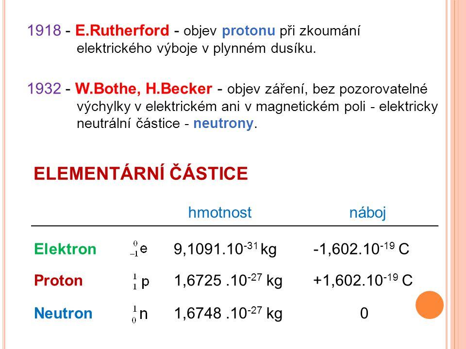 1918 - E.Rutherford - objev protonu při zkoumání elektrického výboje v plynném dusíku. 1932 - W.Bothe, H.Becker - objev záření, bez pozorovatelné vých