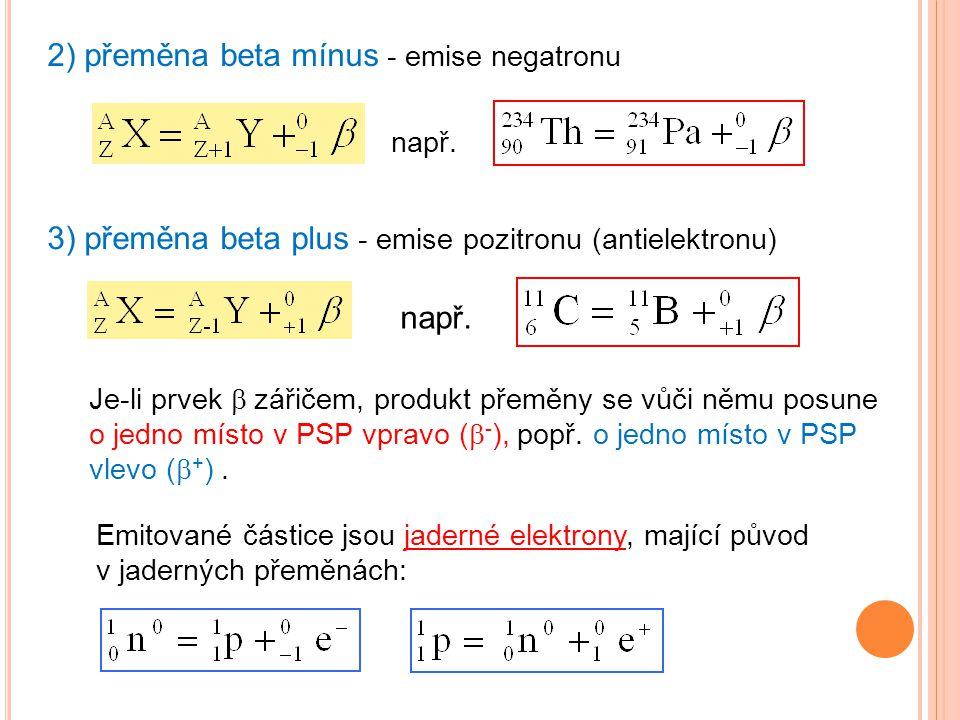 2) přeměna beta mínus - emise negatronu např. 3) přeměna beta plus - emise pozitronu (antielektronu) např. Emitované částice jsou jaderné elektrony, m