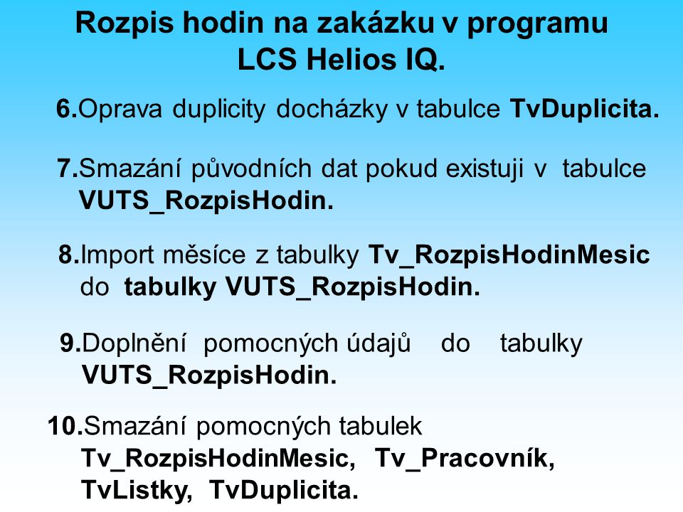 7.Smazání původních dat pokud existuji v tabulce VUTS_RozpisHodin.