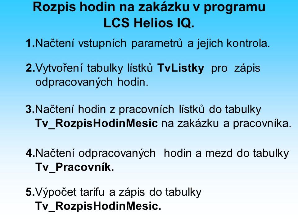 3.Načtení hodin z pracovních lístků do tabulky Tv_RozpisHodinMesic na zakázku a pracovníka.