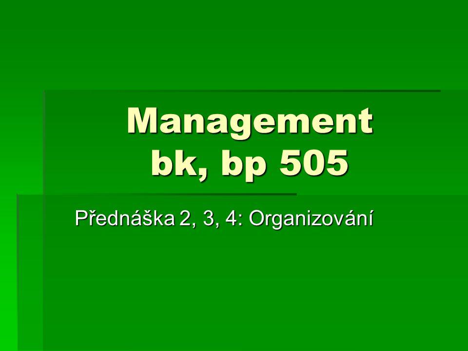Management bk, bp 505 Přednáška 2, 3, 4: Organizování
