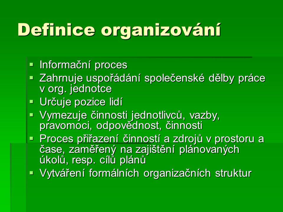 Definice organizování  Informační proces  Zahrnuje uspořádání společenské dělby práce v org. jednotce  Určuje pozice lidí  Vymezuje činnosti jedno