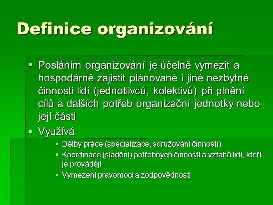 Definice organizování  Posláním organizování je účelně vymezit a hospodárně zajistit plánované i jiné nezbytné činnosti lidí (jednotlivců, kolektivů)