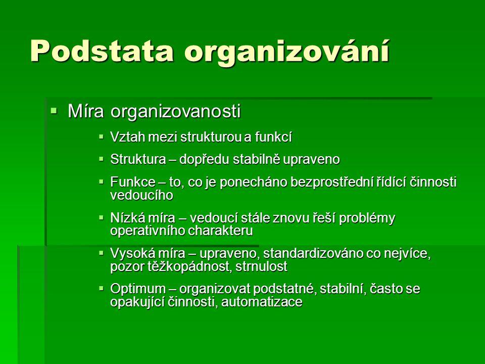 Podstata organizování  Míra organizovanosti  Vztah mezi strukturou a funkcí  Struktura – dopředu stabilně upraveno  Funkce – to, co je ponecháno b