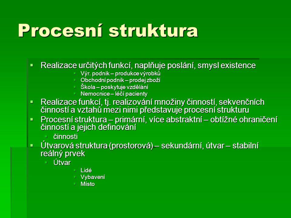 Procesní struktura  Realizace určitých funkcí, naplňuje poslání, smysl existence  Výr. podnik – produkce výrobků  Obchodní podnik – prodej zboží 