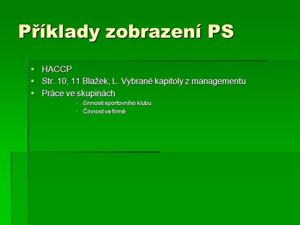 Příklady zobrazení PS  HACCP  Str. 10, 11 Blažek, L. Vybrané kapitoly z managementu  Práce ve skupinách  činnosti sportovního klubu  Činnost ve f