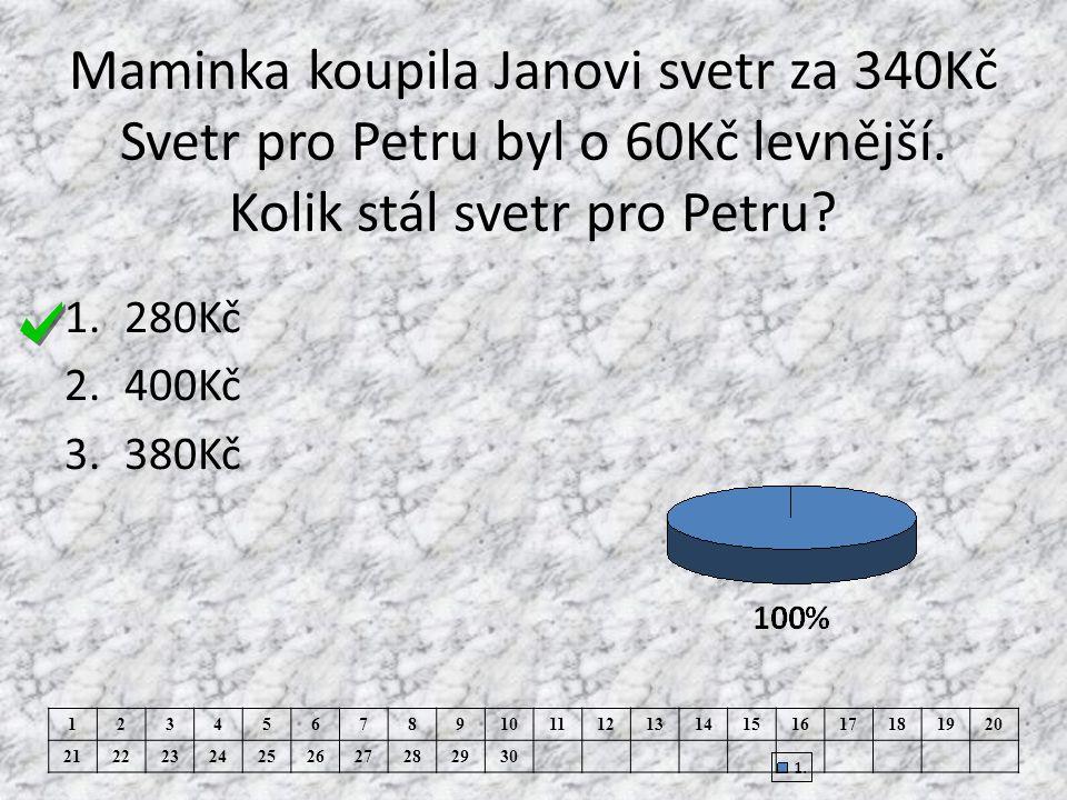 Maminka koupila Janovi svetr za 340Kč Svetr pro Petru byl o 60Kč levnější.