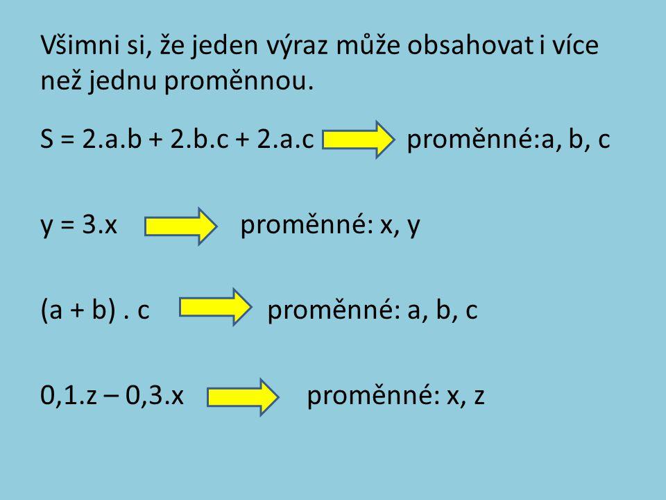 Všimni si, že jeden výraz může obsahovat i více než jednu proměnnou. S = 2.a.b + 2.b.c + 2.a.c proměnné:a, b, c y = 3.xproměnné: x, y (a + b). c promě