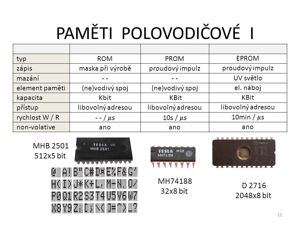 12 PAMĚTI POLOVODIČOVÉ I typROMPROM EPROM zápismaska při výroběproudový impulz mazání- UV světlo element paměti(ne)vodivý spoj el. náboj kapacitaKbit