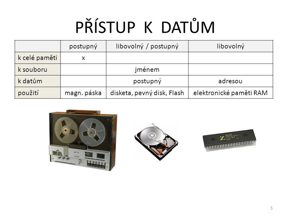 5 PŘÍSTUP K DATŮM postupnýlibovolný / postupnýlibovolný k celé pamětix k souboru jménem k datům postupnýadresou použitímagn. páska disketa, pevný disk