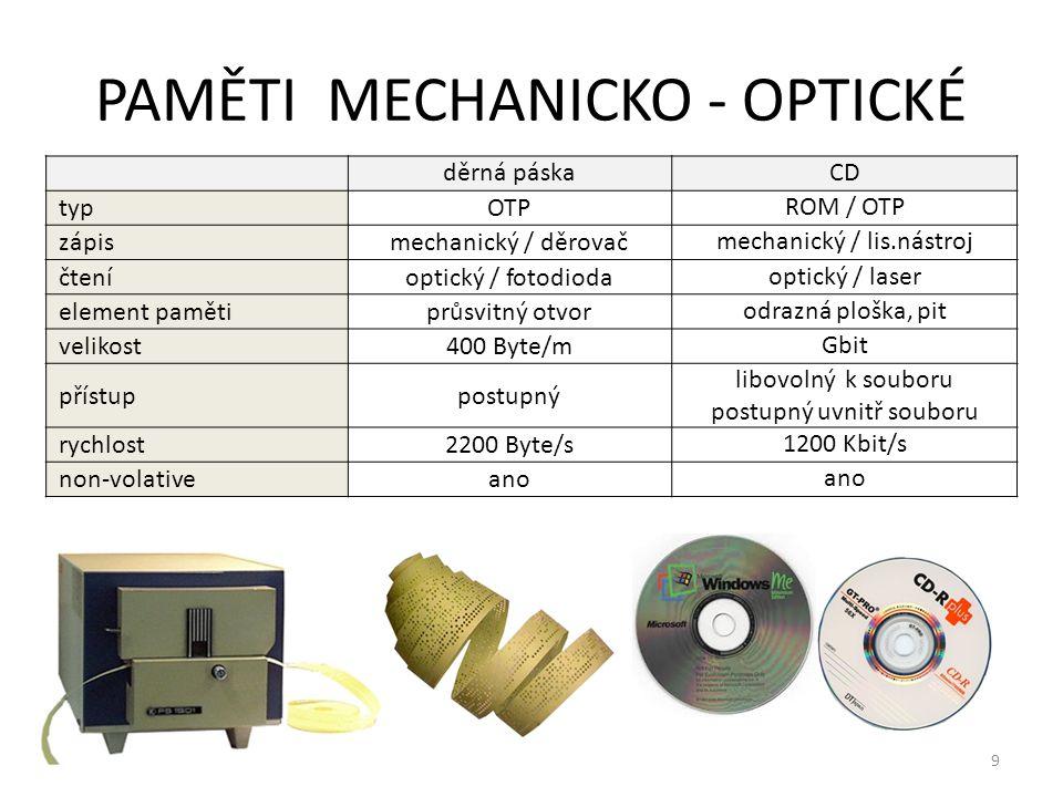 9 PAMĚTI MECHANICKO - OPTICKÉ děrná páskaCD typOTP ROM / OTP zápismechanický / děrovač mechanický / lis.nástroj čteníoptický / fotodioda optický / las