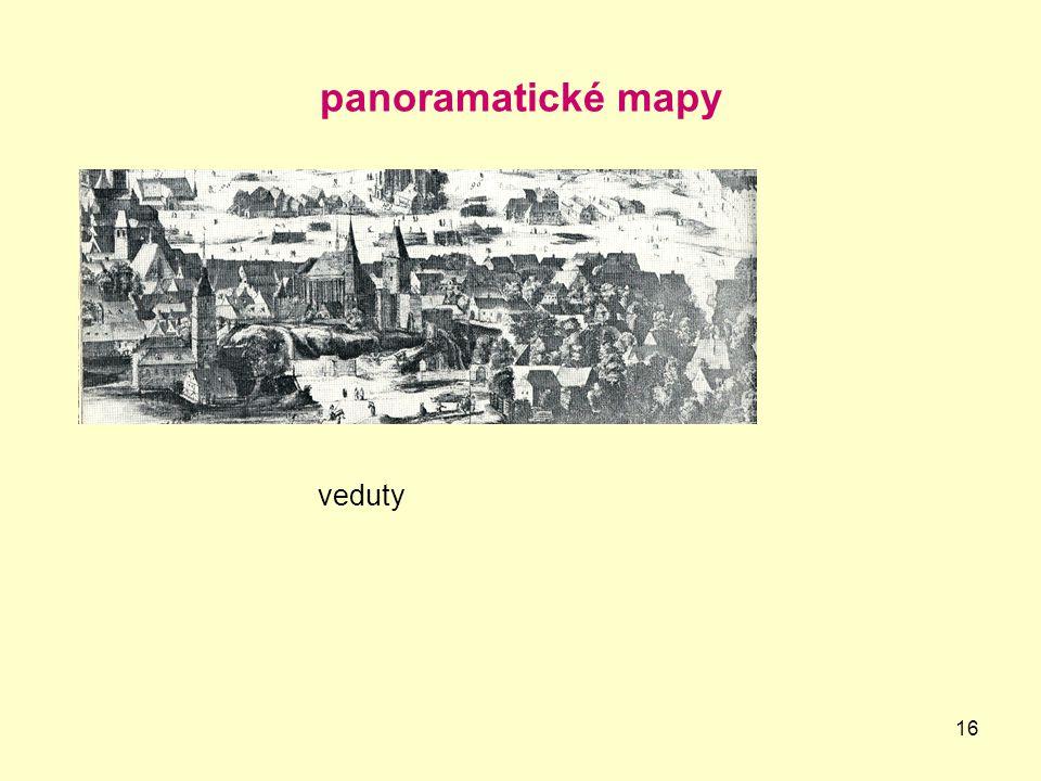 16 panoramatické mapy veduty