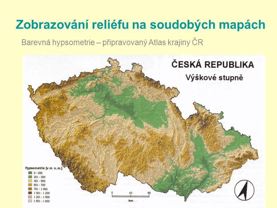 22 Zobrazování reliéfu na soudobých mapách Barevná hypsometrie – připravovaný Atlas krajiny ČR
