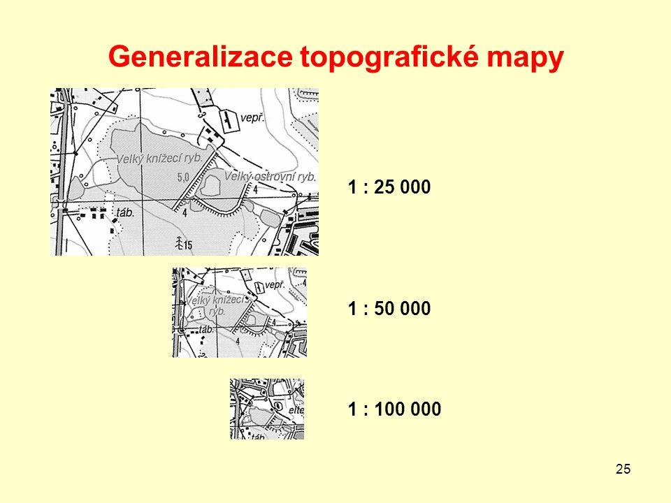 25 Generalizace topografické mapy 1 : 25 000 1 : 50 000 1 : 100 000