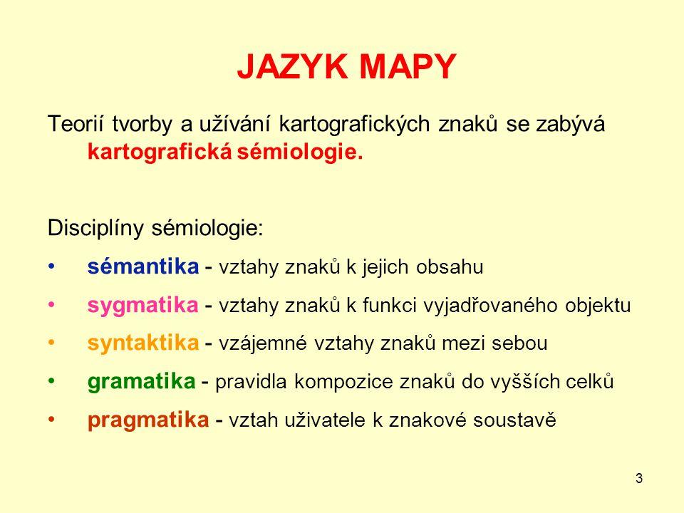 3 JAZYK MAPY Teorií tvorby a užívání kartografických znaků se zabývá kartografická sémiologie. Disciplíny sémiologie: sémantika - vztahy znaků k jejic