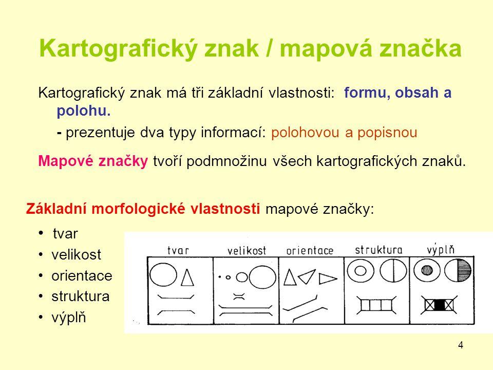 4 Kartografický znak / mapová značka Kartografický znak má tři základní vlastnosti: formu, obsah a polohu. - prezentuje dva typy informací: polohovou