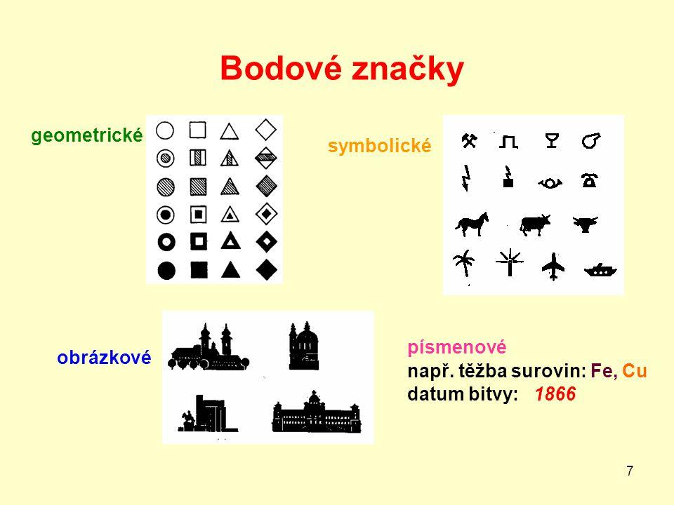 7 Bodové značky geometrické symbolické obrázkové písmenové např. těžba surovin: Fe, Cu datum bitvy: 1866