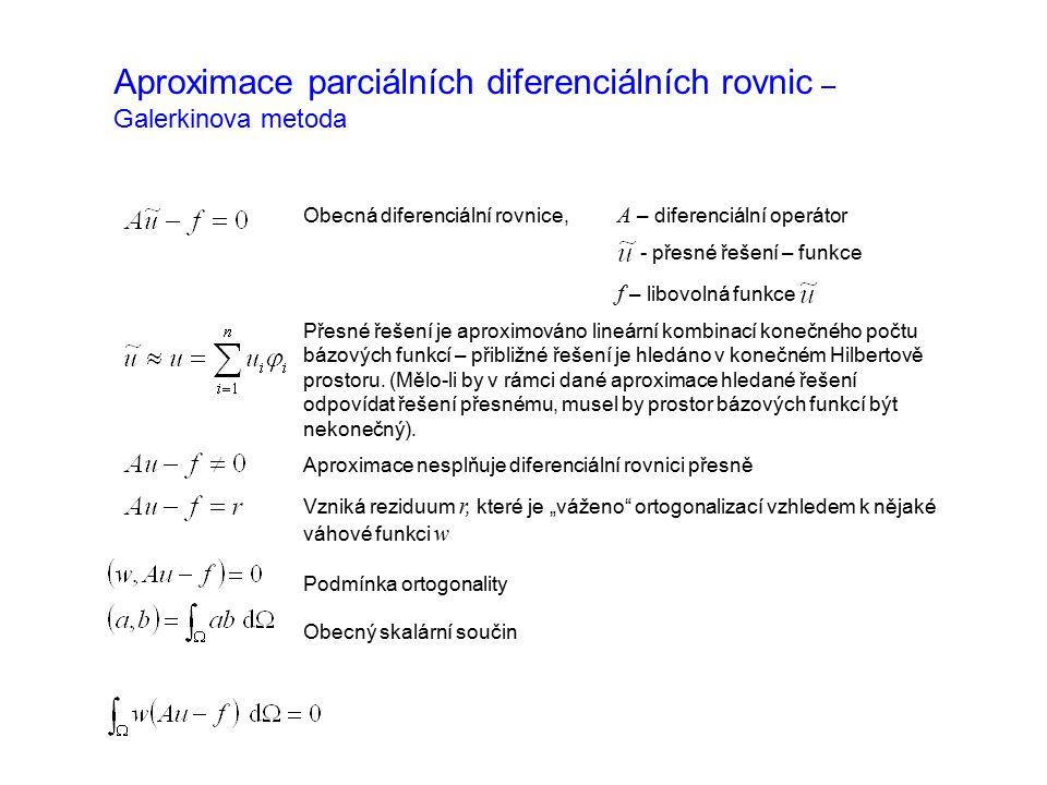 Aproximace parciálních diferenciálních rovnic – Galerkinova metoda Obecná diferenciální rovnice, A – diferenciální operátor - přesné řešení – funkce f