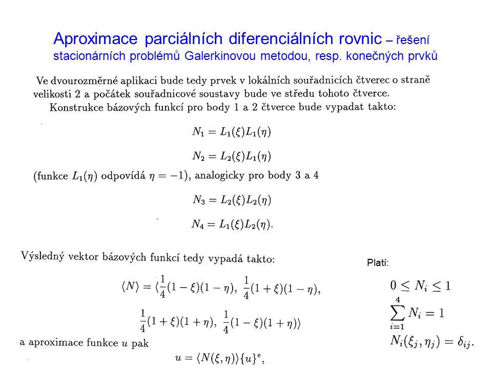 Aproximace parciálních diferenciálních rovnic – řešení stacionárních problémů Galerkinovou metodou, resp. konečných prvků Platí: