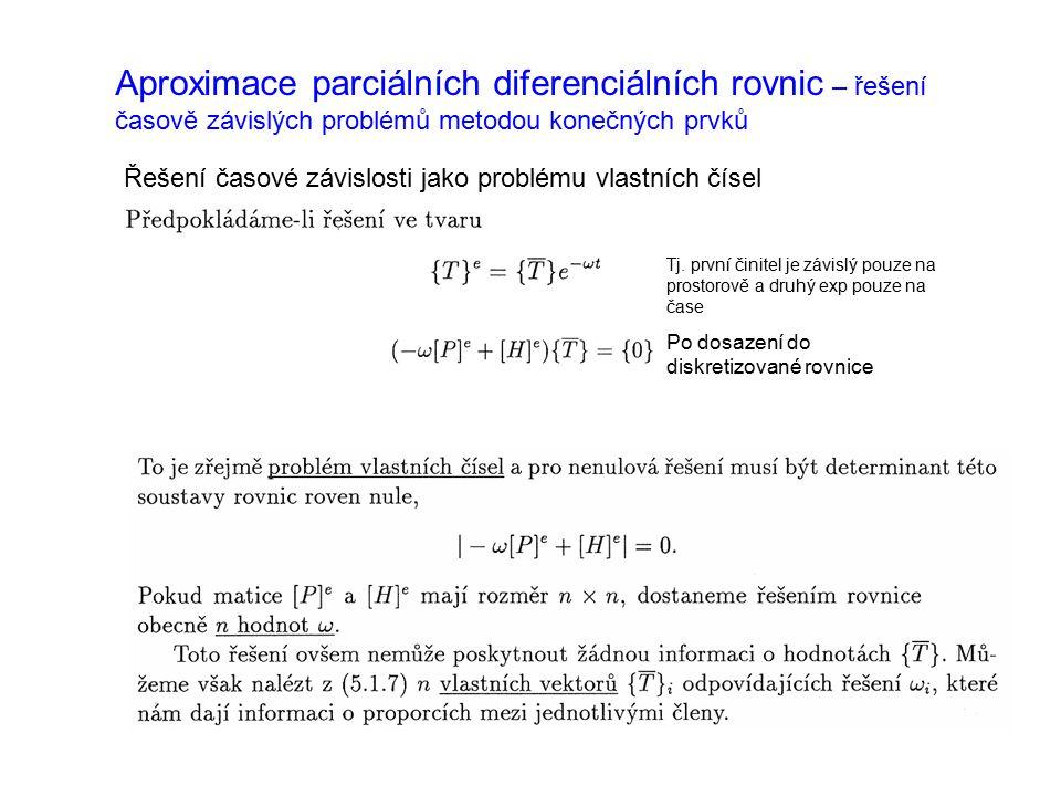 Aproximace parciálních diferenciálních rovnic – řešení časově závislých problémů metodou konečných prvků Řešení časové závislosti jako problému vlastn