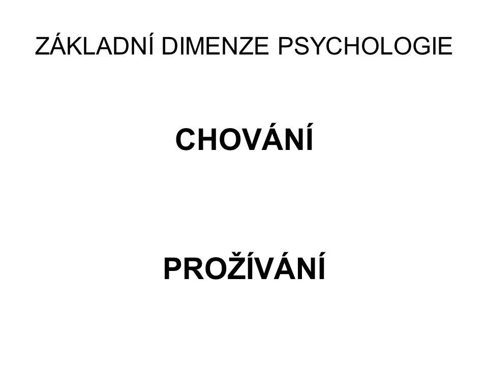 ZÁKLADNÍ DIMENZE PSYCHOLOGIE CHOVÁNÍ PROŽÍVÁNÍ