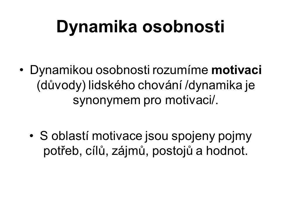 Dynamika osobnosti Dynamikou osobnosti rozumíme motivaci (důvody) lidského chování /dynamika je synonymem pro motivaci/. S oblastí motivace jsou spoje