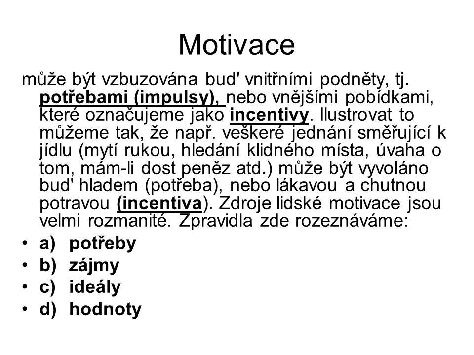 Motivace může být vzbuzována bud' vnitřními podněty, tj. potřebami (impulsy), nebo vnějšími pobídkami, které označujeme jako incentivy. Ilustrovat to