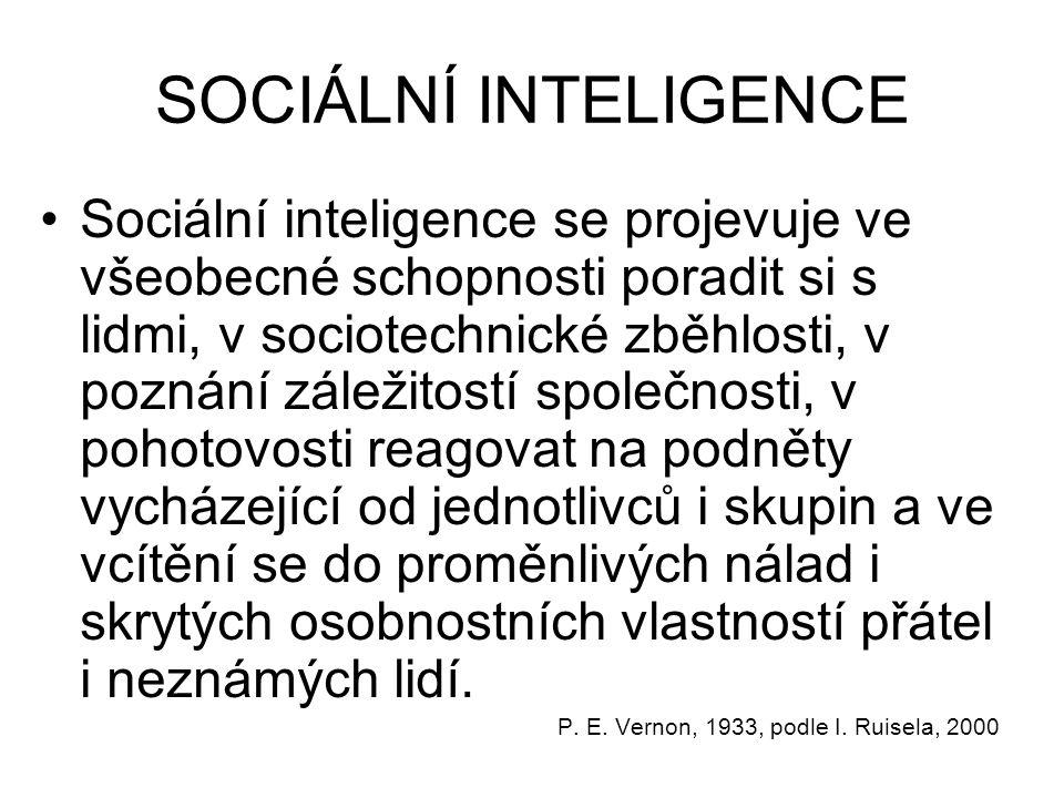 SOCIÁLNÍ INTELIGENCE Sociální inteligence se projevuje ve všeobecné schopnosti poradit si s lidmi, v sociotechnické zběhlosti, v poznání záležitostí společnosti, v pohotovosti reagovat na podněty vycházející od jednotlivců i skupin a ve vcítění se do proměnlivých nálad i skrytých osobnostních vlastností přátel i neznámých lidí.