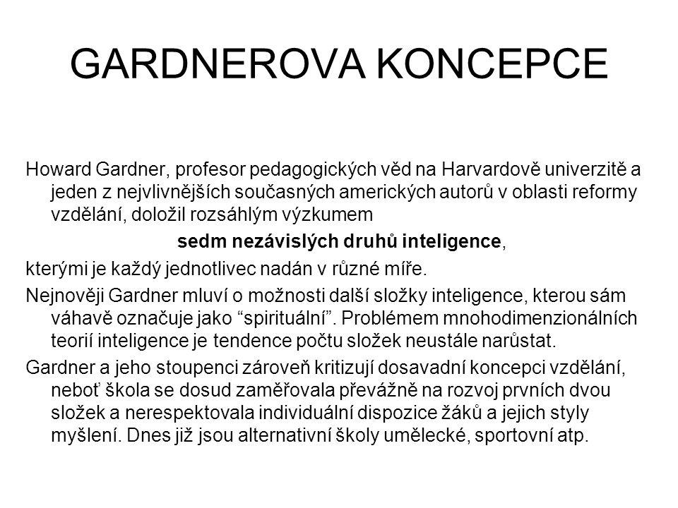 GARDNEROVA KONCEPCE Howard Gardner, profesor pedagogických věd na Harvardově univerzitě a jeden z nejvlivnějších současných amerických autorů v oblasti reformy vzdělání, doložil rozsáhlým výzkumem sedm nezávislých druhů inteligence, kterými je každý jednotlivec nadán v různé míře.