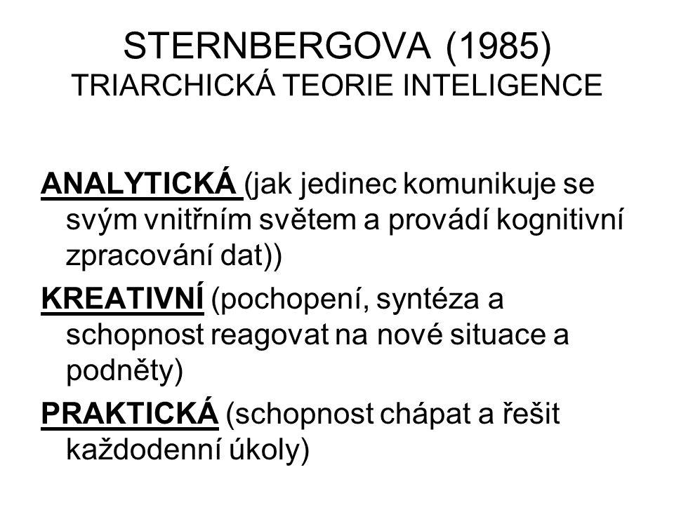 STERNBERGOVA (1985) TRIARCHICKÁ TEORIE INTELIGENCE ANALYTICKÁ (jak jedinec komunikuje se svým vnitřním světem a provádí kognitivní zpracování dat)) KREATIVNÍ (pochopení, syntéza a schopnost reagovat na nové situace a podněty) PRAKTICKÁ (schopnost chápat a řešit každodenní úkoly)