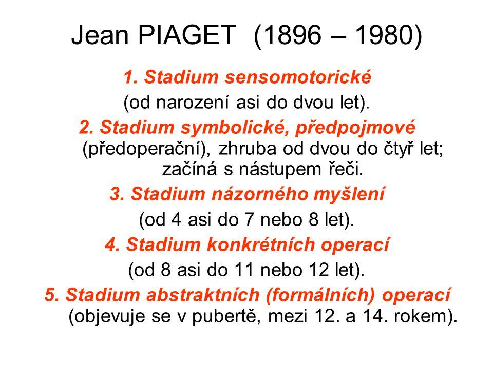 Jean PIAGET (1896 – 1980) 1. Stadium sensomotorické (od narození asi do dvou let). 2. Stadium symbolické, předpojmové (předoperační), zhruba od dvou d