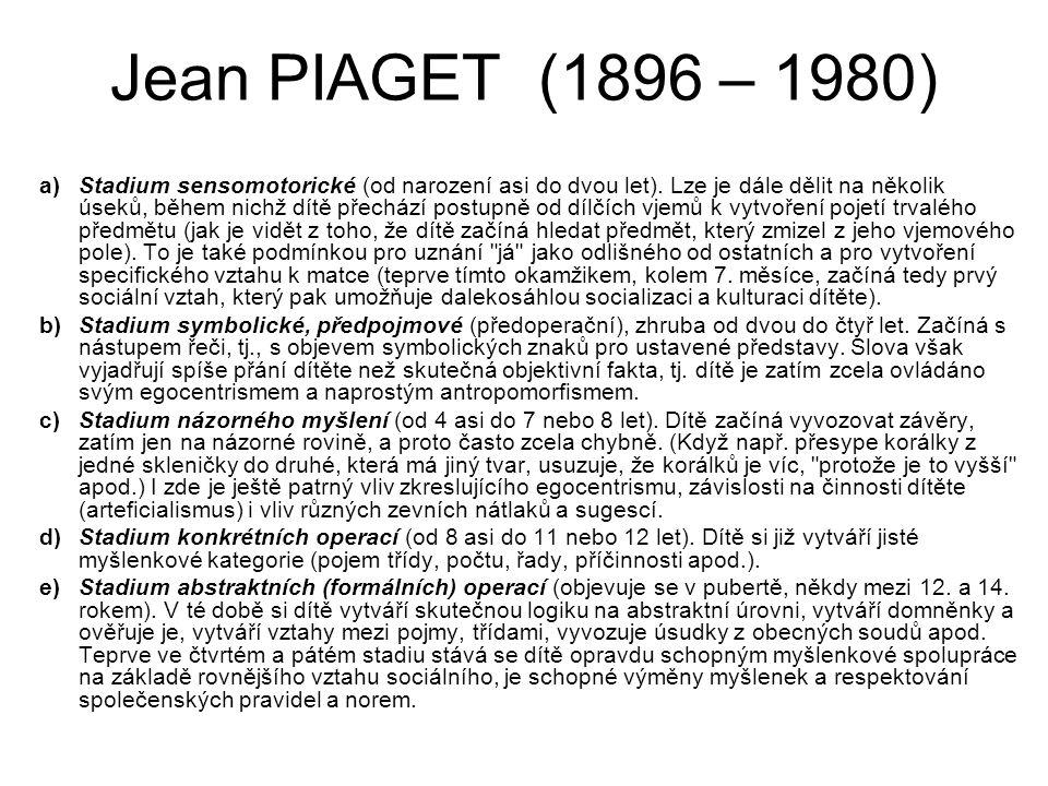 Jean PIAGET (1896 – 1980) a)Stadium sensomotorické (od narození asi do dvou let). Lze je dále dělit na několik úseků, během nichž dítě přechází postup