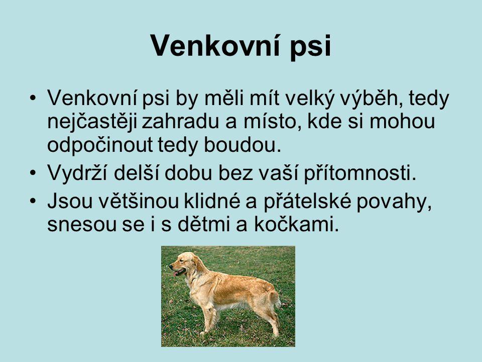 Venkovní psi Venkovní psi by měli mít velký výběh, tedy nejčastěji zahradu a místo, kde si mohou odpočinout tedy boudou. Vydrží delší dobu bez vaší př