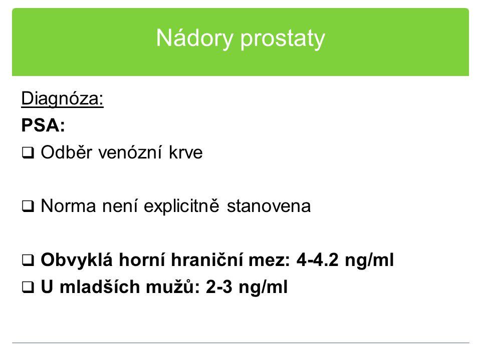 Nádory prostaty Diagnóza: PSA:  Odběr venózní krve  Norma není explicitně stanovena  Obvyklá horní hraniční mez: 4-4.2 ng/ml  U mladších mužů: 2-3