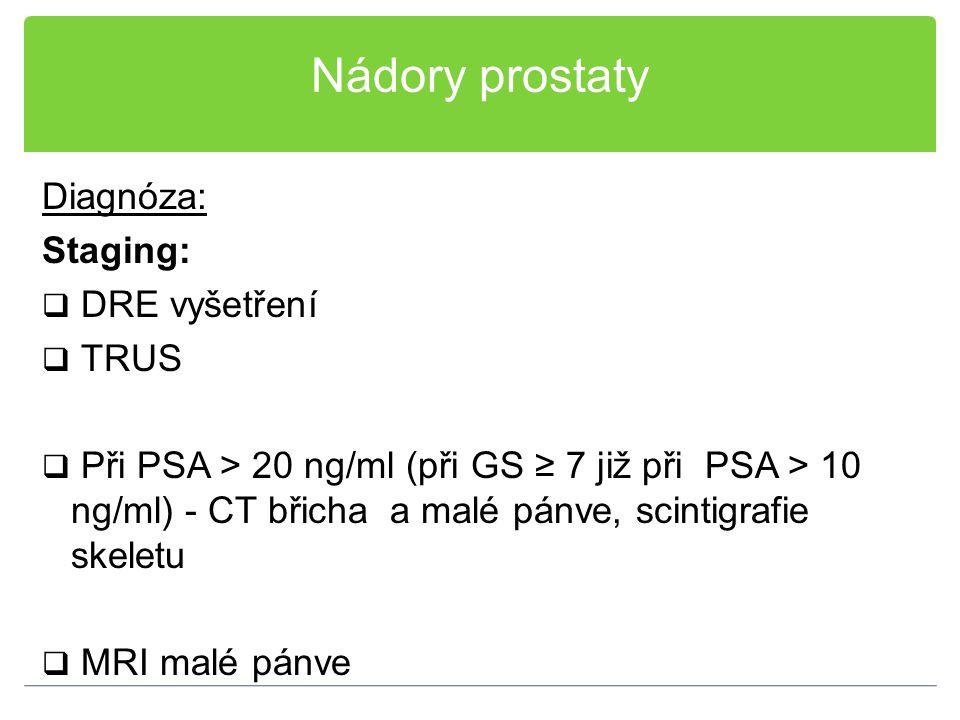Nádory prostaty Diagnóza: Staging:  DRE vyšetření  TRUS  Při PSA > 20 ng/ml (při GS ≥ 7 již při PSA > 10 ng/ml) - CT břicha a malé pánve, scintigra