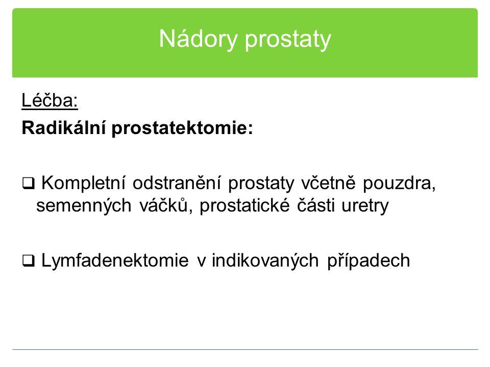 Nádory prostaty Léčba: Radikální prostatektomie:  Kompletní odstranění prostaty včetně pouzdra, semenných váčků, prostatické části uretry  Lymfadene