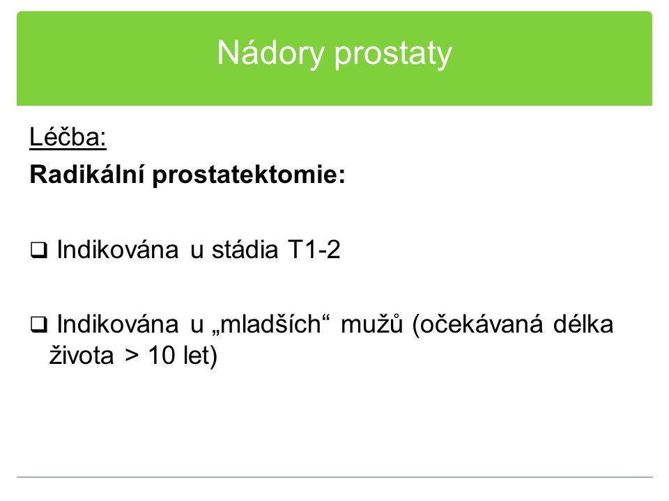 """Nádory prostaty Léčba: Radikální prostatektomie:  Indikována u stádia T1-2  Indikována u """"mladších"""" mužů (očekávaná délka života > 10 let)"""