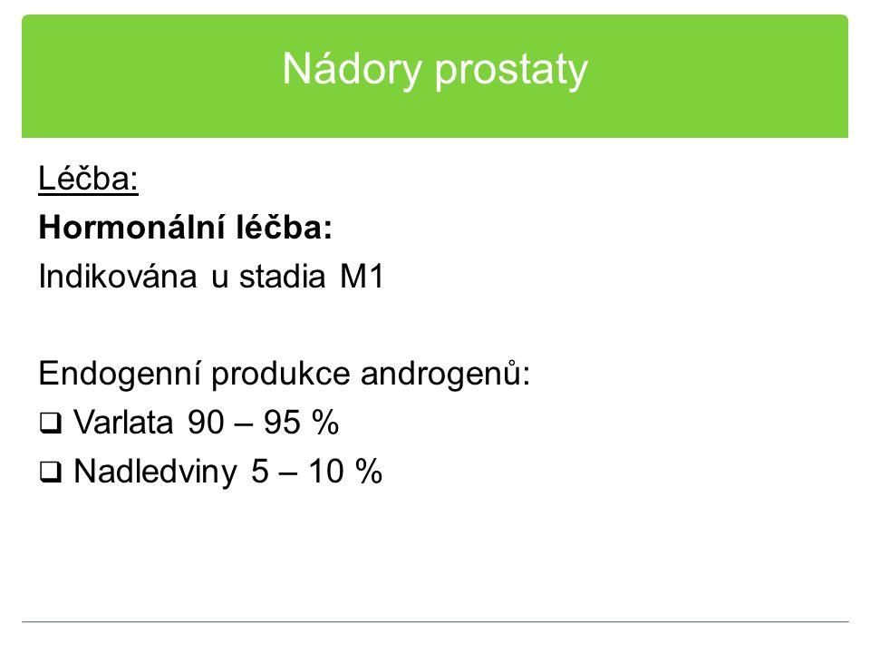 Nádory prostaty Léčba: Hormonální léčba: Indikována u stadia M1 Endogenní produkce androgenů:  Varlata 90 – 95 %  Nadledviny 5 – 10 %