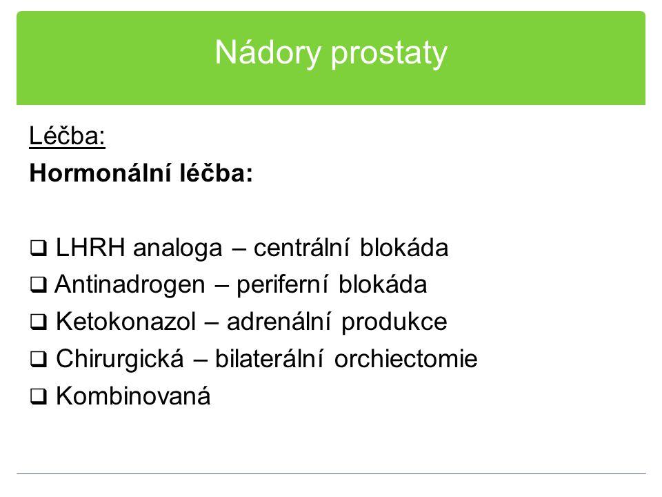 Nádory prostaty Léčba: Hormonální léčba:  LHRH analoga – centrální blokáda  Antinadrogen – periferní blokáda  Ketokonazol – adrenální produkce  Ch