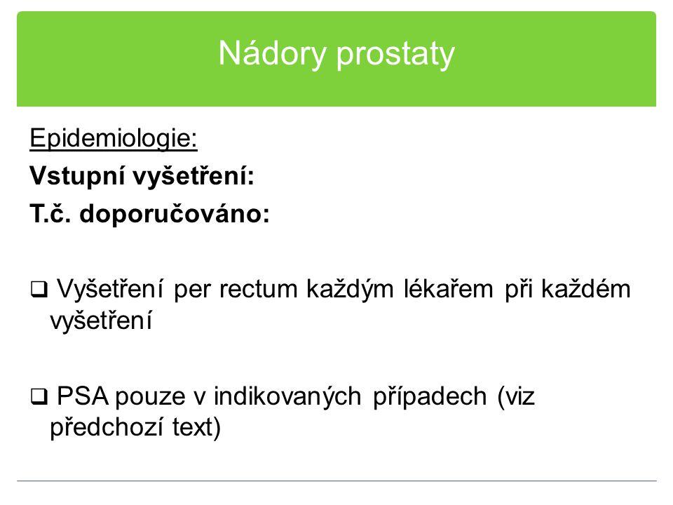 """Nádory prostaty Léčba: Radikální prostatektomie:  Indikována u stádia T1-2  Indikována u """"mladších mužů (očekávaná délka života > 10 let)"""