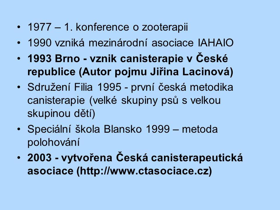 1977 – 1. konference o zooterapii 1990 vzniká mezinárodní asociace IAHAIO 1993 Brno - vznik canisterapie v České republice (Autor pojmu Jiřina Lacinov