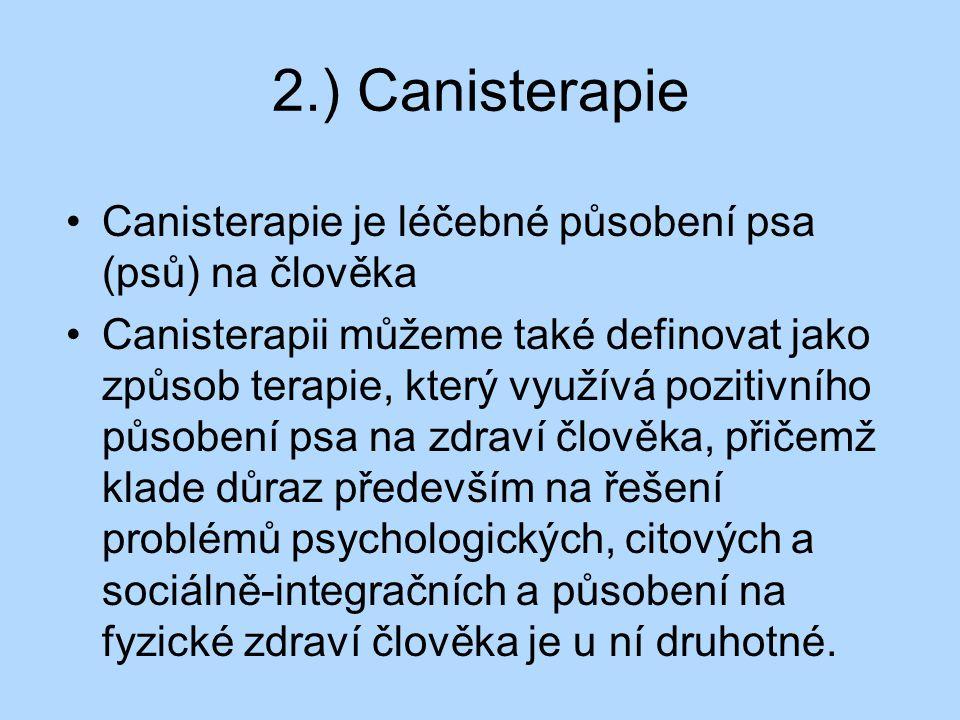 2.) Canisterapie Canisterapie je léčebné působení psa (psů) na člověka Canisterapii můžeme také definovat jako způsob terapie, který využívá pozitivní